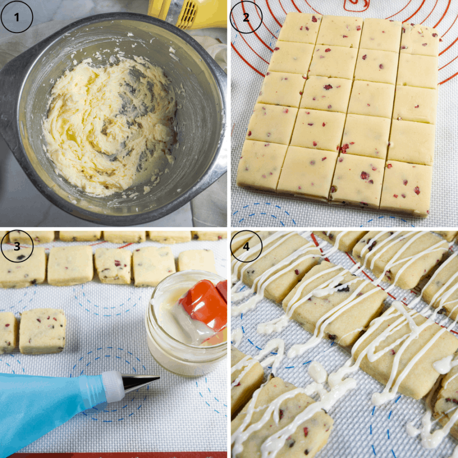 A metal bowl of creamed butter and sugar, a square of dough cut into smaller squares, finished cookies on a slip mat with melted white chocolate and a piping bag, and a slip mat of finished cookies drizzled with white chocolate