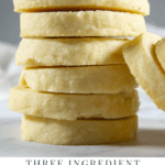 A stack of traditional shortbread cookies on a white countertop
