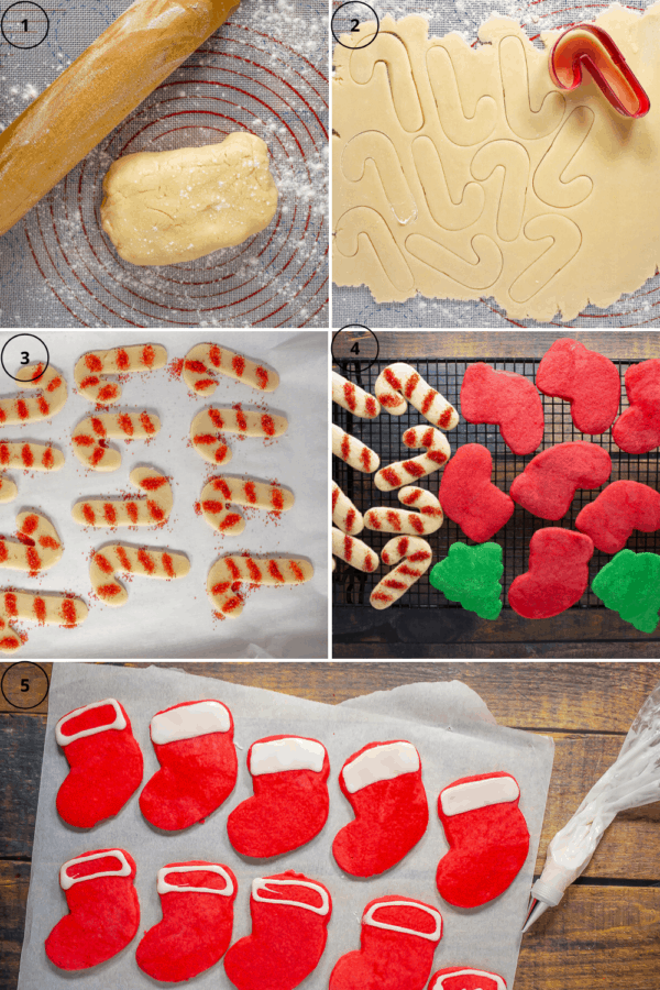 A 5 part process collage beginning with a rolling pin beside a ball of dough, next the dough rolled out and a candy cane cookie cutter, then a cookie sheet with cut out cookies on it, then a cooling rack of baked sugar cookies, and finally cookies being iced.