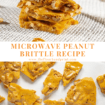 A stack of peanut brittle over an image of peanut brittle broken on a baking sheet