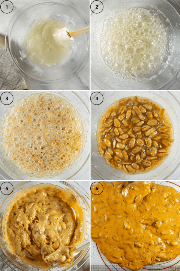 6 part process collage for making microwave brittle, the sugar mixed, then boiling, then it beginning to caramelize, then it darker with peanuts in it, then it foaming with baking soda added, then it spread on a baking mat