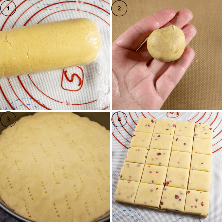 a collage of 4 images first one of a rolled log of shortbread cookie dough, next a ball of shortbread dough in a palm, then a pan of dough pressed flat and pricked with a fork, and finally a square of dough cut into smaller squares.
