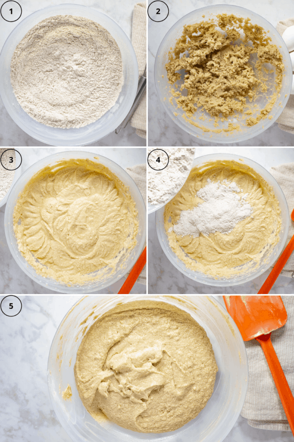 a bowl of flour and spices blended, then an image of butter and sugar blended together, then of it mixed with eggs and vanilla, then it mixed with the flour