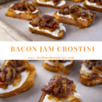 bacon jam crostinis on a serving tray above a crostini with a bite taken out