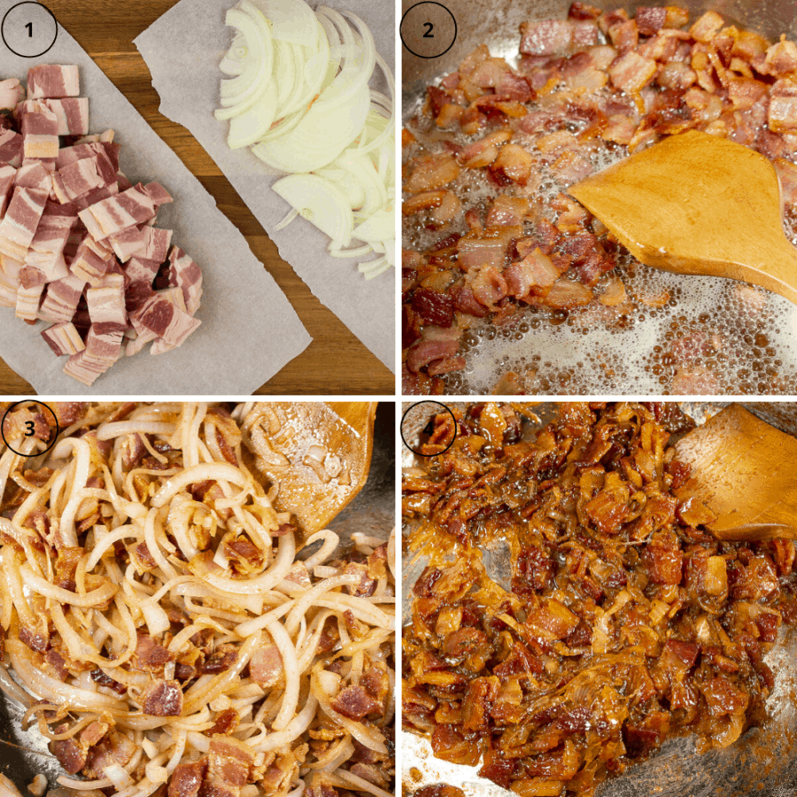 collage beginning with chopped bacon and sliced onions, then the bacon being crisped in a pan, then the onions added to the cooked bacon, then the finished bacon jam in the pan