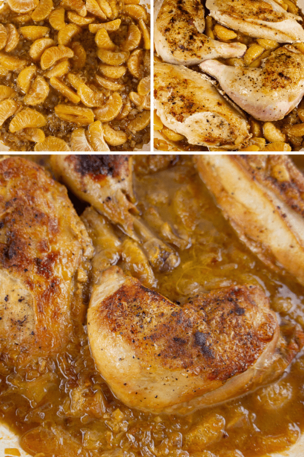 a pot of mandarin slices, a pot of slices with seared raw chicken, then a pot of cooked chicken
