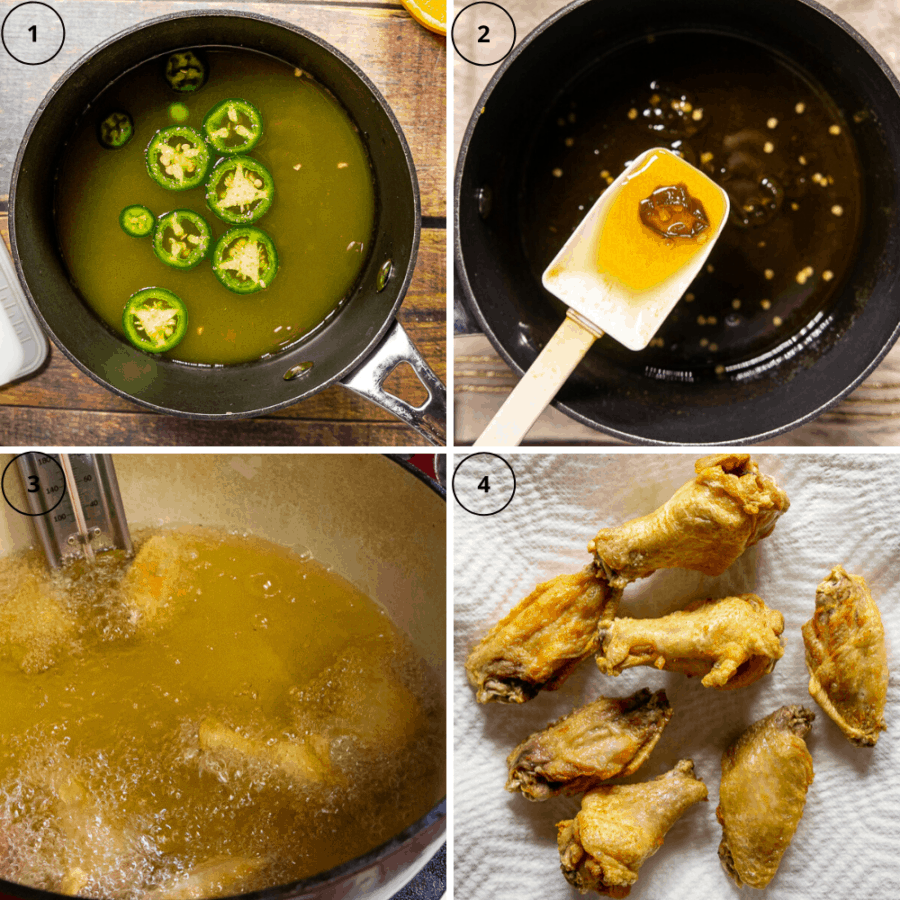 a pot of liquid with sliced jalapenos, then the pot after cooking with the liquid syrupy on a white spatula, then a pot of oil for frying, and finally a plate of fried chicken wings