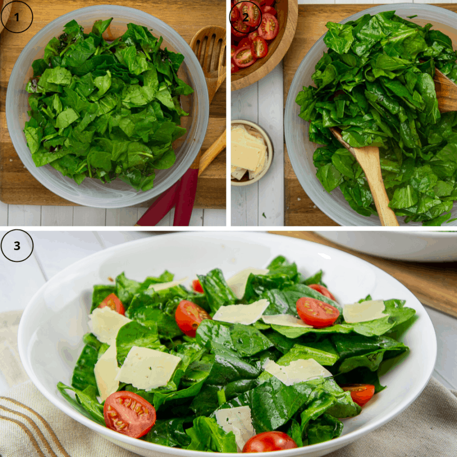 a bowl of chopped spinach with a sprinkle of salt and vinaigrette, then the bowl of greens tossed together, then a picture of the greens topped with tomatoes and parmesan