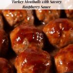 a baking dish of glazed meatballs