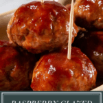 a platter of glazed meatballs with toothpicks