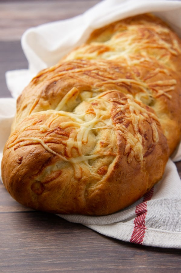 a loaf of asiago cheese bread