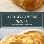 a loaf of asiago bread above a second image of teh loaf sliced