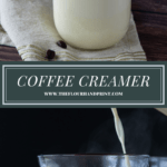 a jar of homemade coffee creamer with a cup of coffee