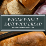 two images of white whole wheat bread, one sliced, one not.