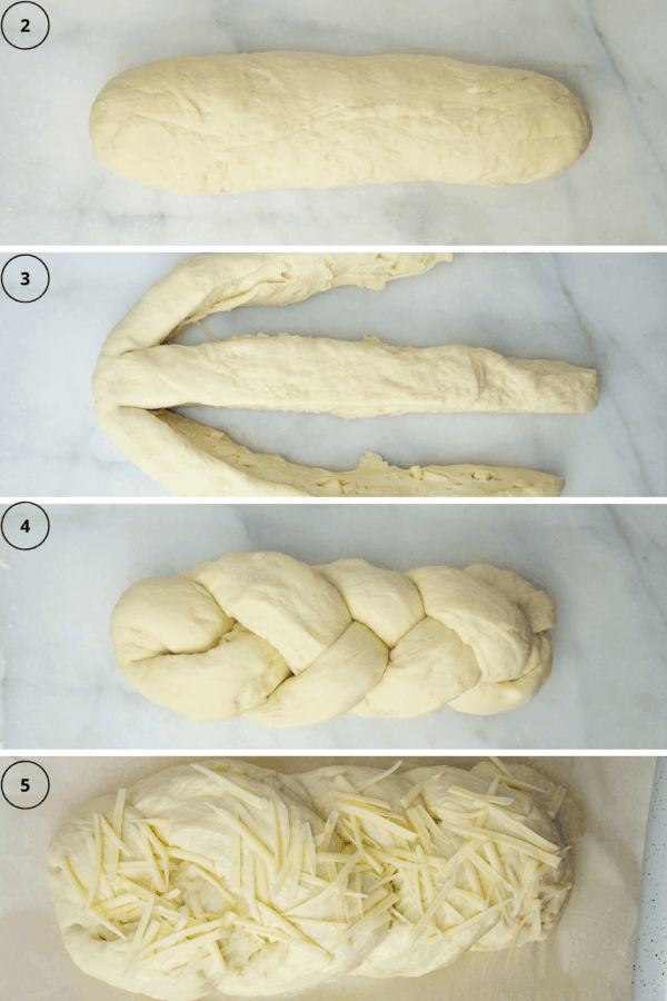Asiago bread process, part 2. The dough shaped, then cut into three pieces, then braided, the risen with more cheese on top