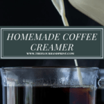 a cup of black coffee with creamer being poured into it