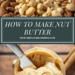 a display of nut variations over a jar of homemade nut butter