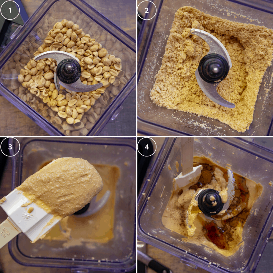 nut butter in four stages, whole nuts, ground nuts, a smooth paste, then with flavors added to it.