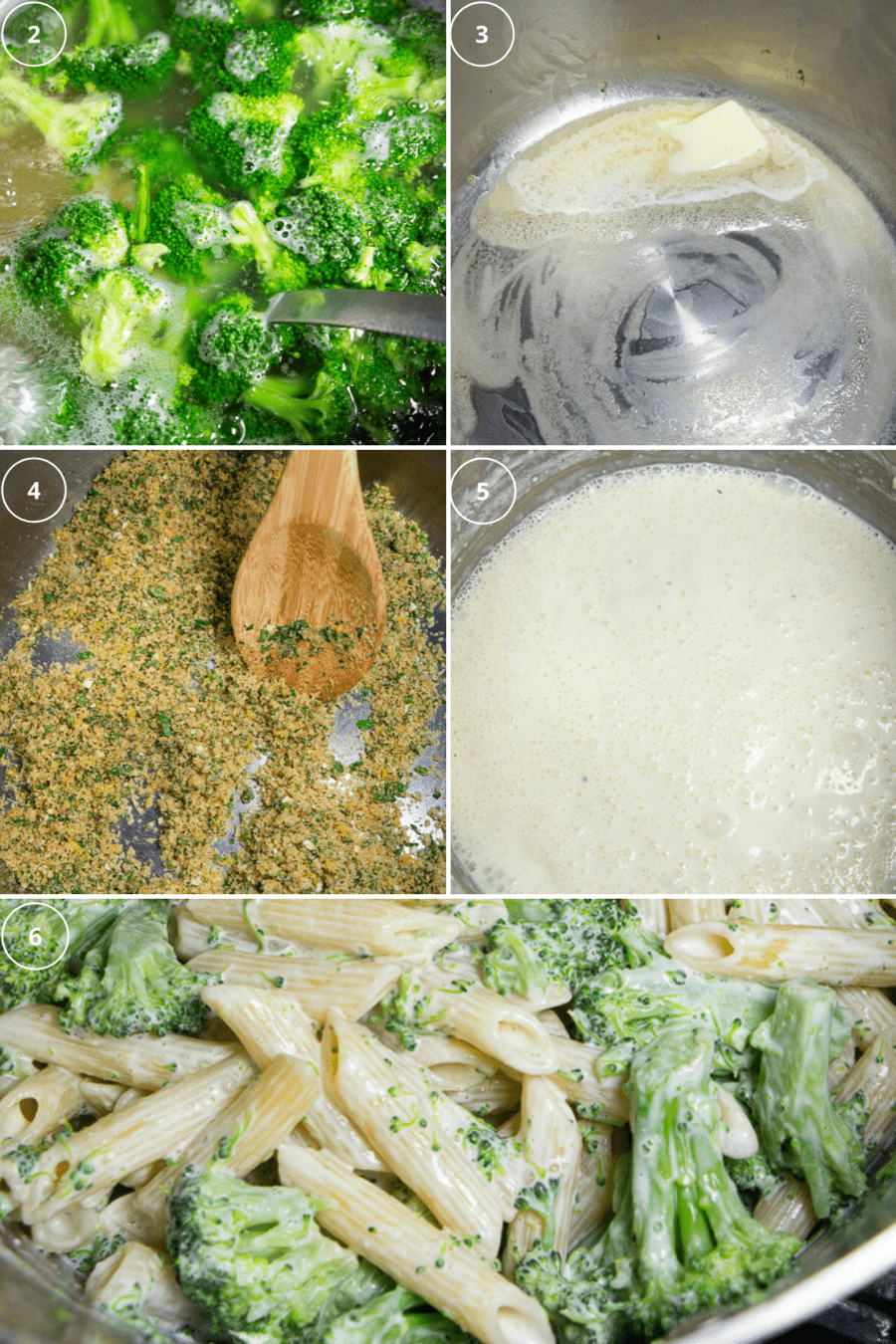 pasta and broccoli in boiling water, breadcrumbs in butter in a pan, a cream sauce in a pan, and a pot of creamy pasta with broccoli