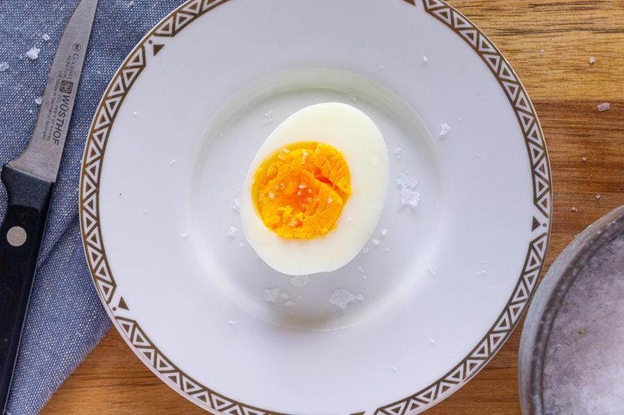 a single half egg on a plate