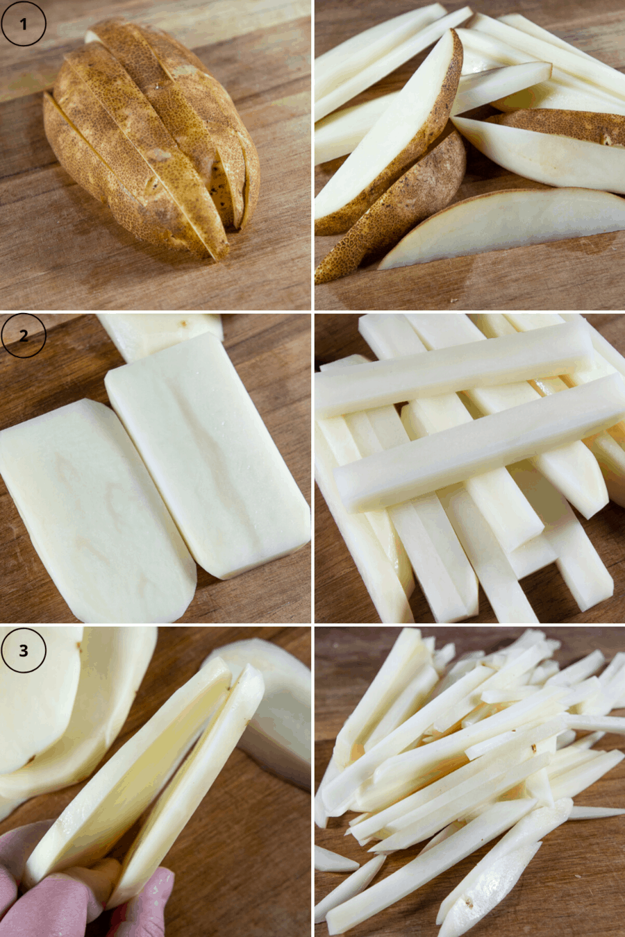 a collage of potato wedges, matchstick cut, and shoestring cut russet potatoes