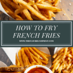 parchment paper cones full of potato wedges, classic fries, and shoestring fries with ketchup