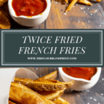 two cones of french fries with ketchup above a second image of a cone of potato wedges