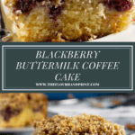 a slice of blackberry coffee cake up close over an image of the same slice, further away on a white plate with a fork