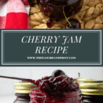 an open jar of cherry jam over a jar of jam with a spoon scooping some out