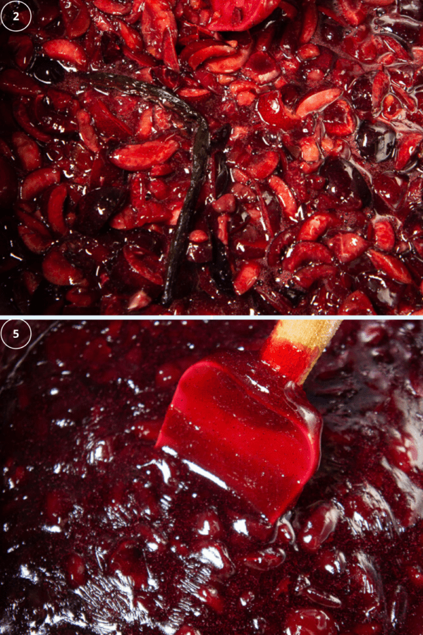 cherry jam at the beginning of cooking and then again when it's finished