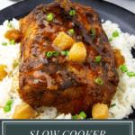 a glazed pork loin with rice