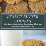 a pile of peanut butter cookies above a second image of stacked peanut butter cookies in front of milk