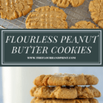 a rack of peanut butter cookies over a second image of the cookies in a tall stack with a glass of milk