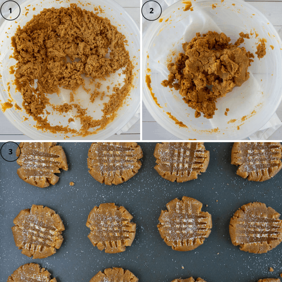 the process of making peanut butter cookies, first the bowl with peanut butter and sugars mixed, then the dough, then the dough on a cookie sheet formed into cookies