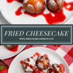 two plates of cheesecake bites with strawberry syrup