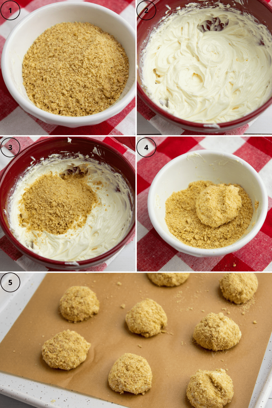 cream cheese and milk being mixed with sugar and graham cracker crumbs and formed into cheesecake bites