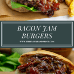 a bacon onion jam burger with fries on a parchment square over a second shot of the burger on a wooden cutting board