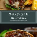 a bacon jam burger over a second shot of a bacon jam burger with the top bun removed.