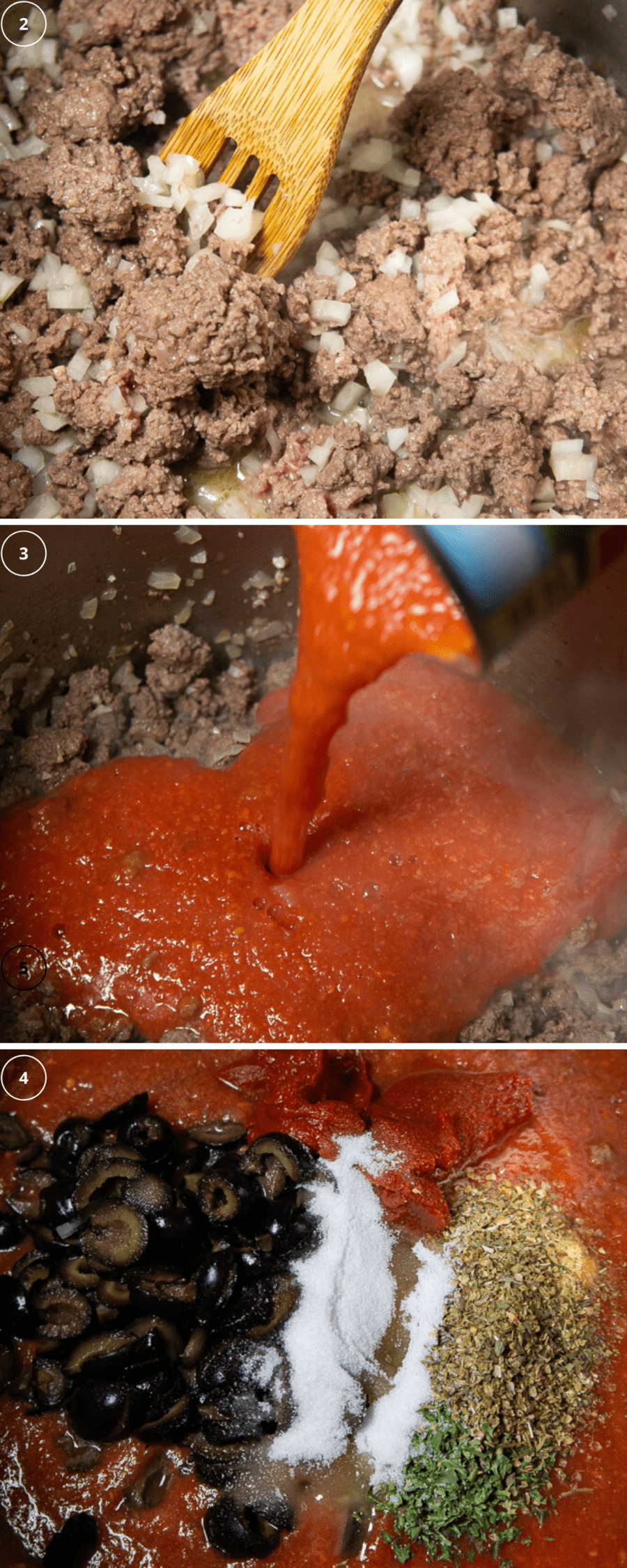 a pot of ground beef with onions cooking above a second image of tomato puree being poured into it, above a third image of spices, herbs, and olives being added to it.