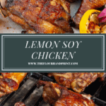 a platter of grilled chicken over the chicken being grilled on a charcoal bbq.