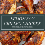a platter of grilled chicken with grilled onions and lemons