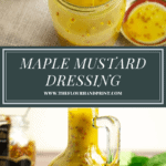 a jar of mustard dressing with a spoon lifting some out, over an image of a glass jar of the dressing