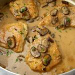 A big pot of chicken in a creamy mushroom marsala sauce