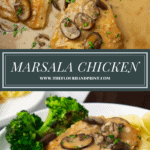 a pot of chicken marsala over a single breast with sauce on a white plate with pasta and broccoli