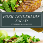 a platter of spinach with sliced pork tenderloin and yellow dressing above a second image of the dressing being poured over the greens