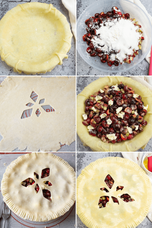 a pie plate with pie crust in it beside an image of cherries and rhubarb in a bowl with sugar, then another pie crust being rolled out, beside an image of the first pie crust with filling, above the second pie crust fitted on the pie plate beside a final image of the pie brushed with egg wash