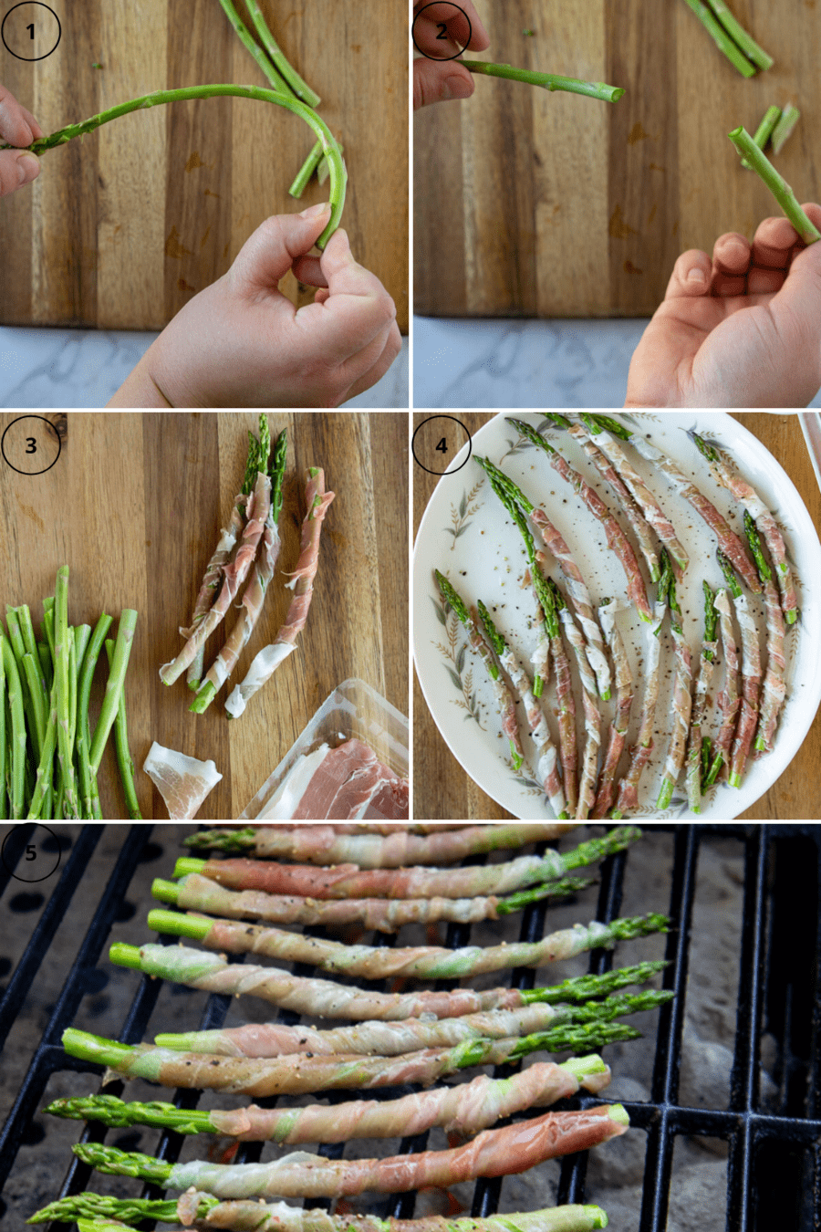 asparagus being bent and snapped to remove the tough ends, then the spears being wrapped in prosciutto and brushed with oil, then all of them on the grill.