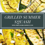 a platter of grilled summer squash over a second image of the grilled squash with parlsey and feta cheese on it