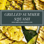a white platter of summer squash that's grilled