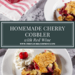 a cherry cobbler with pieces on white plates beside it